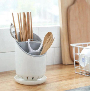 Double Drain Cutlery Set Storage Holder