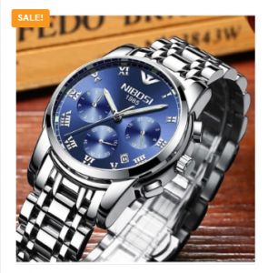 NIBOSI High Quality Waterproof Luxury Brand Stainless Steel Men's Watch 3382