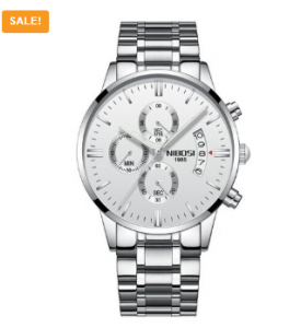 NIBOSI Men's Fashion Casual Dress Watch Military Quartz Wristwatch Silver White Steel