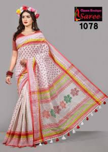 Cotton Slick Embroidery Sari Blauz Pes Inclining