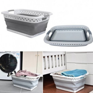 Collapsible Plastic Laundry Basket - Foldable Pop Up Storage Container