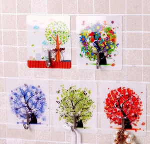 5 Pcs Set Random Color Strong Plastic Magic Wall Hooks