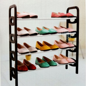 4 Layer Plastic Shoes Shelf Adjustable Shoes Storage Organizer Rack Shelves