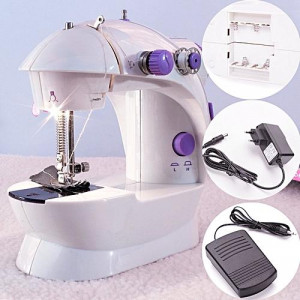 Portable Mini Sewing Machine With Foot Pedal And Adapter - White