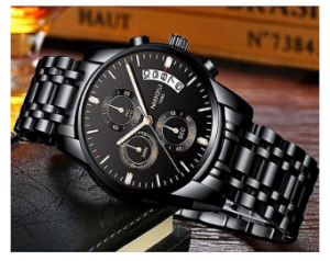 NIBOSI Men Fashion Sport Quartz Mens Watch Luxury Business Waterproof Gold Black Watch Relogio Masculino-3327