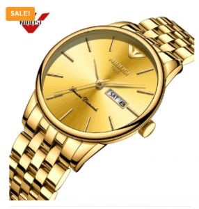 NIBOSI Gold Stainless Steel Date Mens Watch 3383