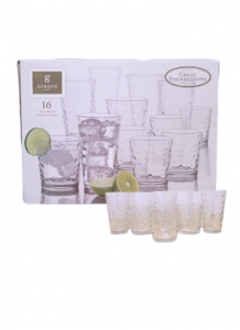 Original Gibson Home Great Foundations Bubbles Pattern Glass Set 473 ml 16 pcs