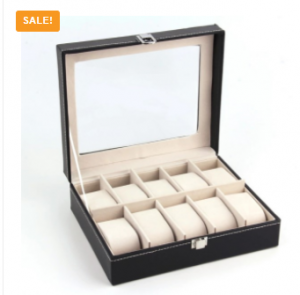 10 Slots Watch Storage Box with glass Cover