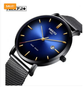 NIBOSI Men Fashion Brand Quartz Luxury Creative Waterproof Date Casual Men Watch 3365