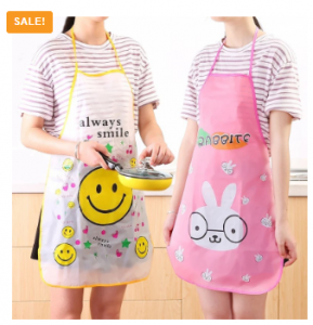 Home Cooking PVC Transparent Cartoon Kitchen Aprons For Women
