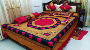 Bed cover designed for 8 pieces