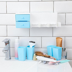 Plastic Wall Mounted Adhesive Toothbrush Holders Toothpaste Organizer With Cups Double Layer Drawers Bathroom Accessories