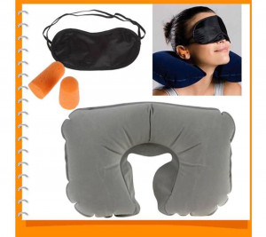 Air Inflatable Cushion Sleep Mask Neck Pillow & Eye Shad - Black