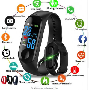 Original Band M3 Waterproof Smart Fitness Tracker With Charger-Gray