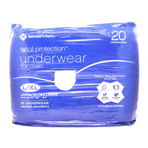 Original Members Mark Total Pro. L/XL Und. Men Adult Diaper 20 pcs