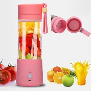 Multi Plastic USB Juicer Blender 380Ml Bottle With Rechargeable Power Bank & USB Cable