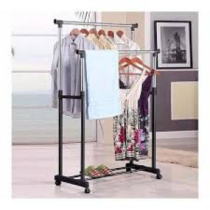 Double Hanging Cloth Stand And Shoes Rack - Silver And Black