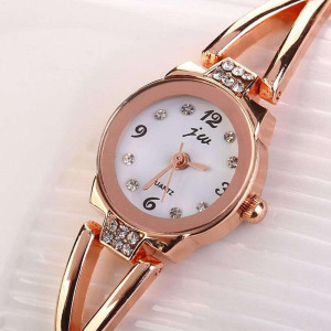 Stainless Steel Ladies Rhinestone Bracelet Watch