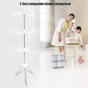 Revolving Steel Clothe Drying Rack Space-Saving Foldable Hanger Laundry Cloth Airer